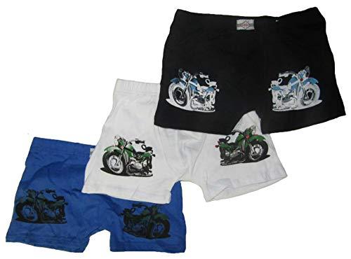 Eleuek 3'er Set Jungen Unterhosen mit Motorrad Motiven (98/104, schwarz/weiß/blau)