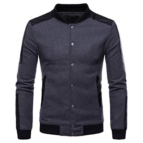 PANBOB Men's Cardigan Jacket Gentleman Elegant Solid Color Simple Button Long-Sleeved Spring and Autumn Fashion Casual Classic All-Match Men's Jacket D-Dark Gray XL
