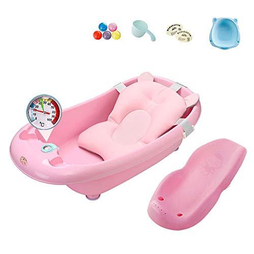 LTOOLA Baby Badewanne, Baby Kompaktdusche mit Thermometer Baby-Schwimm und Antirutsch-Badekissen Soft Seat Badewannenträger Mit Duschspielzeug für Neugeborene von 0 bis 6 Jahren,Rosa
