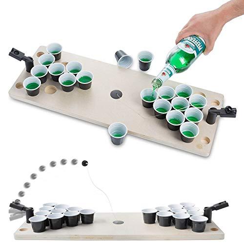 GOODS+GADGETS Mini Beer-Pong Spiel für Jede Party exklusiver Bier & BierPong Spieltisch mit Schnaps Bechern für packende Matches Shot-Pong Komplett Set aus Holz; 60 x 22 x 8 cm