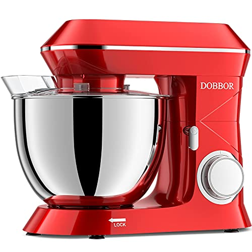 Stand Mixer DOBBOR 8.5QT 6+1 Speeds 660W Electric Kitchen Stand Mixer, Tilt-Head Food Mixer, Commercial Standing Mixer with Dough Hook, Whisk, Beater, Splash Guard & Mixing Bowl for Baking, Red