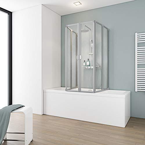 Schulte Duschabtrennung faltbar für Badewanne 70 - 80 cm, einfacher Aufbau, Kunstglas Softline hell, alunatur, langlebig, D1700 01 01