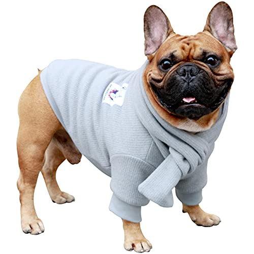 iChoue Pet Dog Knitted Sweater with Matching Scarf Knitwear Winter Warm Clothes Cold Weather Coat for French Bulldog Pug Boston Terrier - Grey/L