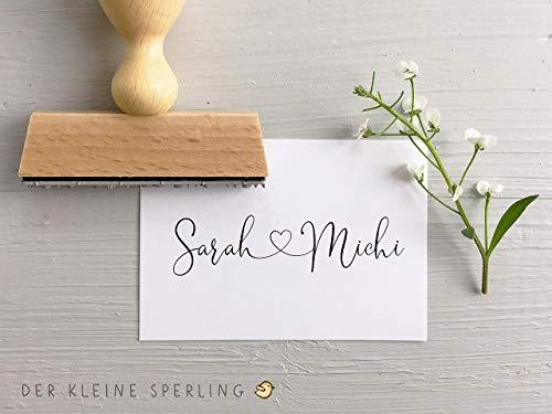 Stempel HOCHZEIT, Namen mit Herz, Lettering, Hochzeitseinladung