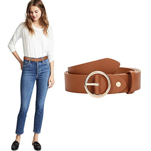 Women Fashion PU Leather Waist Belt with Round O Ring Buckle (Suit for waist size 36-40 Inches, brown)