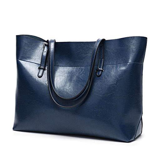 NfudishpuMochila Casual Liviana, Bolso de Mujer Hombro Diagonal Oil Wax Leather Wild Retro Handbag (Color: Azul Oscuro, Talla: Talla única)
