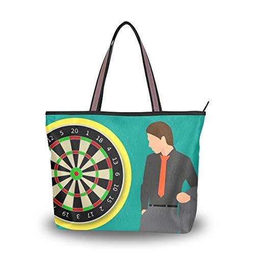 LORONA Damen Dartscheibe Spiele Ausrüstung Target Canvas Schulterhandtasche Tragetasche mit großer Kapazität