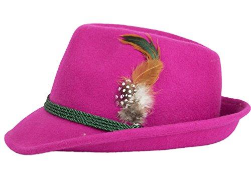 P.S. Schuhmacher Schuhmacher Damenhut aus Wolle mit Federn vers. Farben (57cm Umfang, pink)