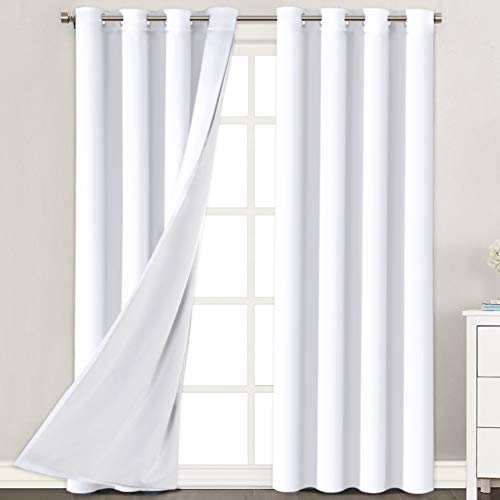 """Room Darkening Curtains 96"""" Length for Living Room Faux Silk Panels with White Liner Backing - Thermal Insulated & Energy Efficiency Window Panel Drapes Pair, Grommet Top, White"""