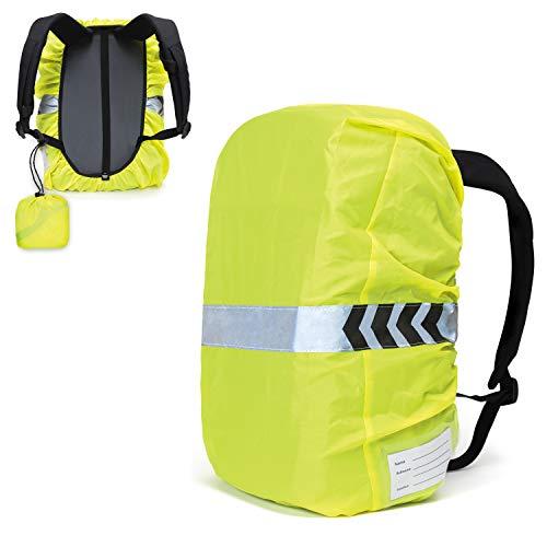 BAURENA® Regenschutz für Rucksack und Schulranzen - mit Reflektor und Beutel - Ideal für Satch, Ergobag, Scout und Step by Step Ranzen - Wasserdichte Regenhülle für Outdoor und Schulrucksack - bis 42L