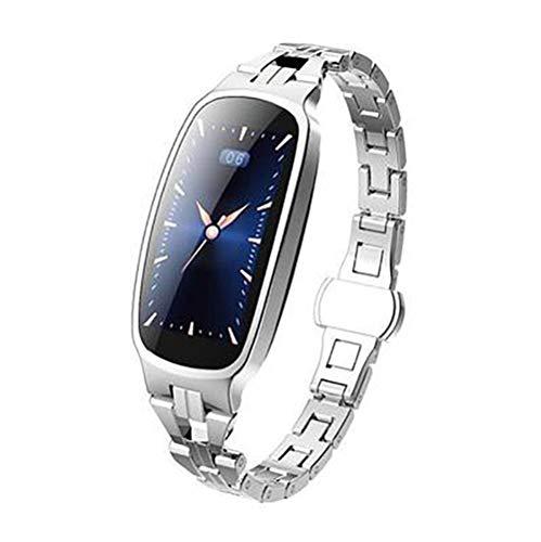 Pulsera inteligente, pantalla a color de 0,96 pulgadas, Bluetooth 4.0, prueba de salud, análisis de sueño, cálculo de pasos, cámara inteligente compatible con Android e iOS (color: plata)