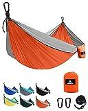 Aodoer Camping Hammock - Travel Hammock with 2 Tree Straps, Double Hammock, Durable Nylon Parachute Portable Hammock for Outdoor, Hiking, Backpacking, Yard (Orange & Grey)