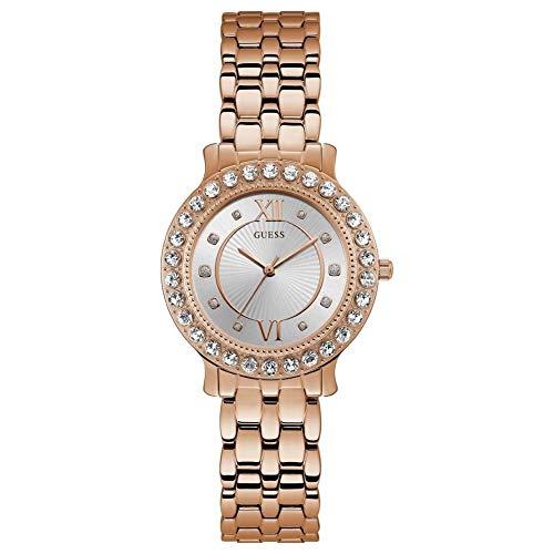 Guess Damen Analog Quarz Uhr mit Edelstahl Armband W1062L3