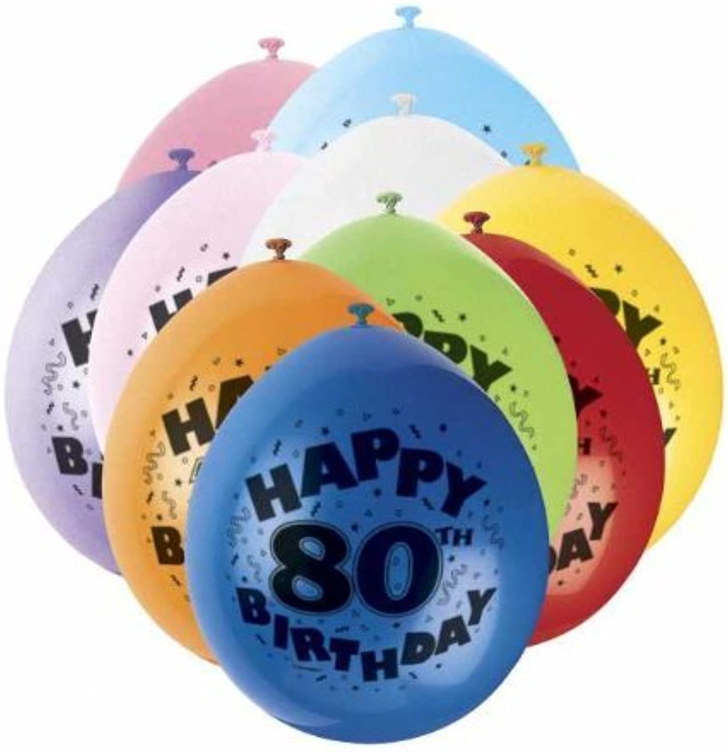 80th Happy Birthday Latex Balloons 10pk by Party Bags 2 Go