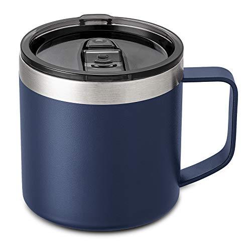Lafaso 14oz Coffee Mug Cup with Handle,Vacuum Insulated Coffee Mug with Sliding Lid, Double Wall Stainless Steel Travel Tumbler Mug (Navy 1 Pack)