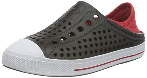 Skechers Boy's Foamies Guzman Steps-Aqua Surge Sneaker, Black/Red, 1 Little Kid