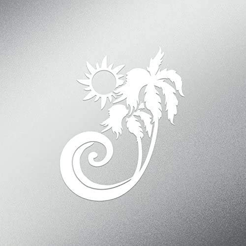 Sunset Graphics & Decals Palm Tree Tropical Beach Decal Sticker | 5.5-Inches Tall | Premium Quality White Vinyl | SGD000200