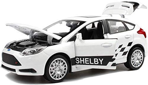 Model auto's Model Car Ford Focus ST1: 32 Simulatie Die Casting Alloy Static Pullback geluid en licht Speelgoed Auto Model Car Model Volwassenen Kids houten En Mustang Peuters Metal Car lili