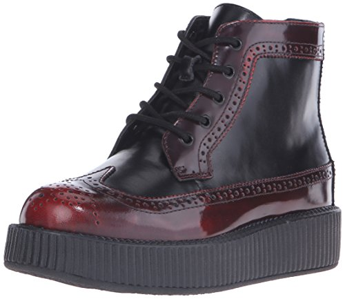T.U.K. Shoes Men's Women's Burgundy Rub-Off Black Brogue Viva Creeper Boot EU40 / UKW7