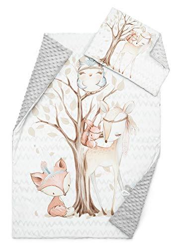 EliMeli Baby-Set BABYDECKE Kuscheldecke Krabbeldecke mit Kissen Premium Babybettwäsche weichem Minky Fleece Baumwolle Füllung bester Qualität Öko-Tex-Zertifikat Made in EU (Grey - Forest Friends II)