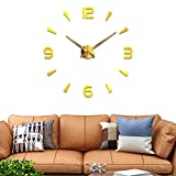 DIY Analog Silent Wall Clock Creative 3D Numbers Design Plastic Frame Glass Cover Wall Decorative Dial Diameter 3.94 inch Without Scale for Corridor School Office Bedroom(Golden)