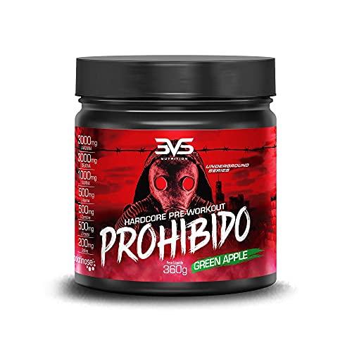 Prohibido Hardcore Pré-Workout (360G) - Sabor Maçã Verde, 3Vs