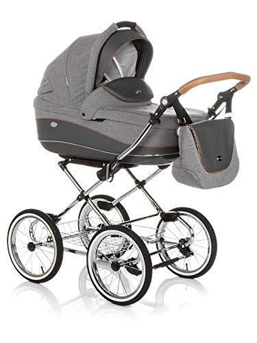 KINDERWAGEN BUGGY KOMBIKINDERWAGEN KLASSISCHER WAGEN RETRO BABYSCHALE VON MAXI -COSI (E-56 Grey-Grey Leather, 2IN1)
