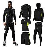 (シーヤ) Seeya コンプレッションウェア セット スポーツウェア メンズ 長袖 半袖 冬 上下 5点セット4カラー トレーニング ランニング 吸汗 速乾 (L, 黒&緑(5点セット))
