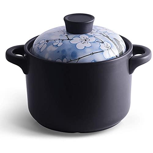 WJHCDDA Olla de Barro para cocinar Cazuela de cerámica Olla de Barro Cazuela de Terracota - Calentada uniformemente y rápidamente, Verde y Que Ahorra energía Duradera - Azul_Capacidad 2.5L