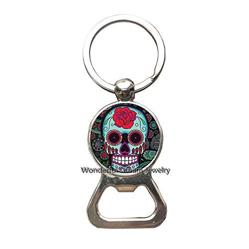 Sugar Skull Key Ring Bottle openers Keychain Simple Bottle openers KeychainHalloween JewelryCharm Key Ring Everyday Jewelry,PU014