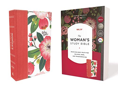 The NKJV, Woman's Study Bible, Cloth over Board, Pink Floral, Red Letter, Full-Color Edition, Thumb Indexed: Receiving God's Truth for Balance, Hope, and Transformation