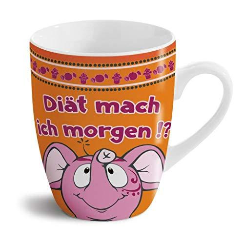 Nici 41641 Tasse Diät mach ich Morgen Kaffeetasse Becher Porzellan Orange 310 ml
