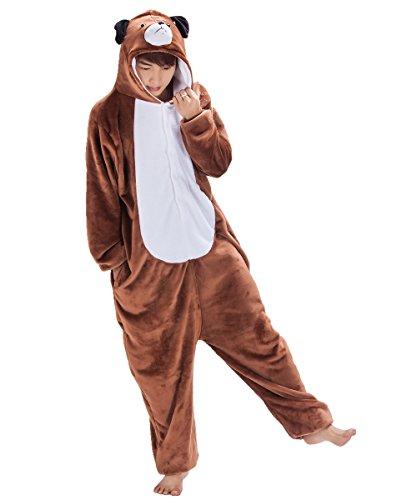 Japsom Unisex Cosplay Anime Cartoon Sleepwear Kigurumi One-Piece Pajamas Dog M Brown