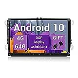 SXAUTO Android 10 Autoradio Compatible VW Seat/Skoda/Polo/Passat/Golf - [4G+64G] - [Built-in DSP+Carplay+Android Auto] - Gratis Cámara Canbus - Dab 4G WiFi BT5.0 Volante 360-Cámara - 9 Pulgada 2 DIN