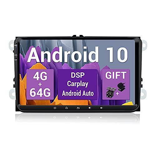 SXAUTO Android 10 Autoradio Compatibile VW Skoda Golf Polo Jetta Passat - [4G64G] - Built-in Carplay/Android Auto/DSP - LED Camera Canbus GRATUITI -Supporto DAB BT5.0 Volante 4G WiFi - 2 Din 9 Pollici