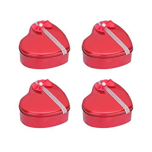 ABOOFAN 4 st tennplåt godisbox hjärta presentlådor plåt plåt kakburk nyckelring smyckesbehållare för bröllop present
