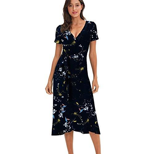 QUNLIANYI Abikleider Lang Polka Dot Floral Chiffon Knielange Damen Strandkleider V-Ausschnitt Bandage Lady Kleid S Farbe 13