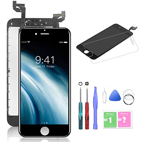 """HTECHY Compatible with iPhone 6s Screen Replacement Black(4.7"""") - Replacement for iPhone 6s Digitizer LCD Touch Screen Display Assembly with Complete Repair Tools Kit and Screen Protector"""