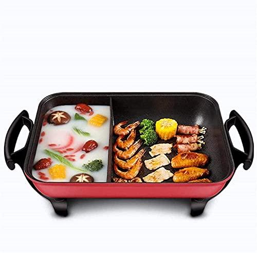 Parrilla de barbacoa de interior coreana grande Teppanyaki Parrilla eléctrica BBQ de la barbacoa Parrilla superior de la placa de cocción con control de termostato ajustable, espátulas y asas de toque