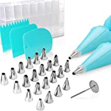 Cake Decorating Supplies Kit, Teenitor 32 PCS Baking Set include Stainless Steel Cake Decorating Tips & Nozzles Silicone Piping Decorating Bag Piping Tip Coupler Scrappers Flower Nail