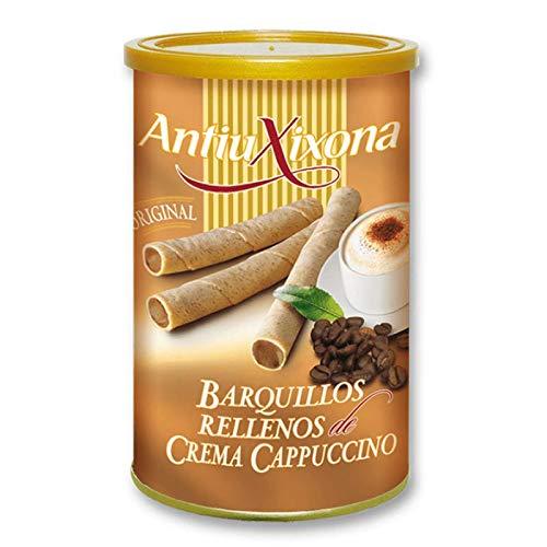 Barquillos de Crema de Capuccino, Caja o Pack de 2,4 KG (12 latas x 200 gramos) - Barquillo de galleta crujiente,...