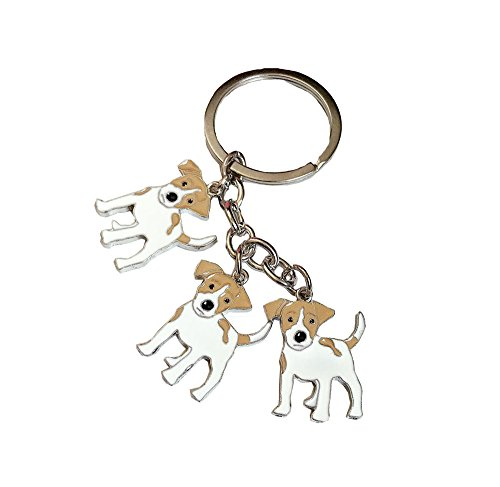 BBEART Dog Keychain, Pet Pendant Key-Ring, Cute Puppy ID Tags Metal Key Ring for Dog Lover (Jack Russell)