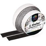 iLP Cinta de Velcro Autoadhesiva, Color Negro, 20 mm de Ancho, 5 Metros de Largo