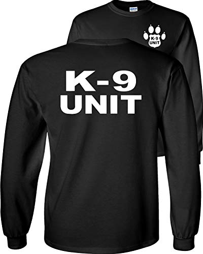 Fair Game K-9 Unit Police Officer Long Sleeve T-Shirt K9 Handler Uniform Law Enforcement Duty v2-Black-Large
