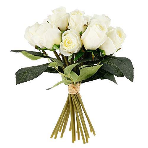18 künstliche Rosen Rosenstrauß Rose Gefälschte Blumen 1 Bunch Braut Hochzeitsblumenstrauß Seidenrosen Kunstblumen für Brautstrauss Haus Hochzeits Party Deko (Milchig Weiß)
