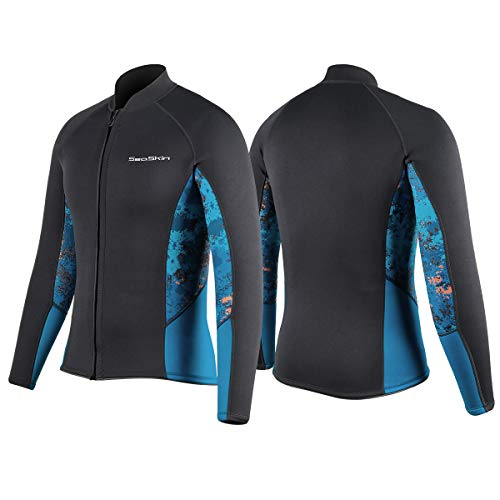 Wetsuit Jacket Men - Long Sleeve Front Zipper 2mm Neoprene Wetsuit Top Canoeing Sea Kayaking Snorkeling Diving Water Aerobics (Black, M)