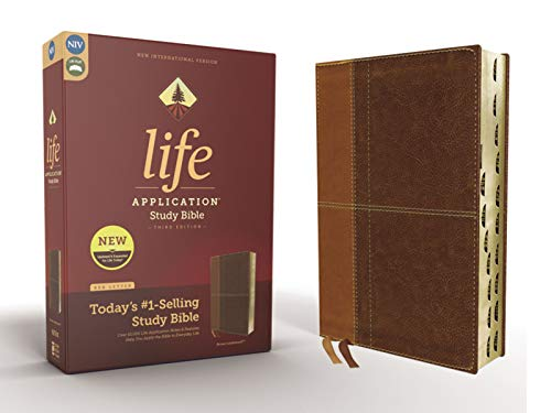 NIV, Life Application Study Bible, Third Edition, Leathersoft, Brown, Red Letter, Thumb Indexed