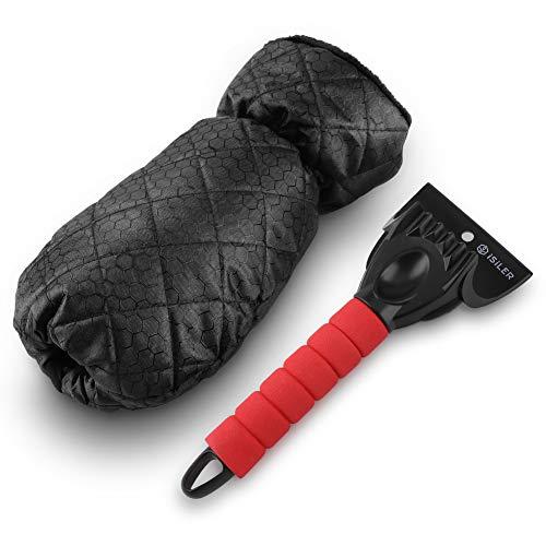 ISILER Handschuh-Eiskratzer Auto, Eisschaber Windschutzscheiben mit strapazierfähigem Griff und wasserdichtem Handschuh, Kratzer Entferner langlebig und stabil, mit warmem, dickem und weichem Fleece