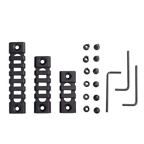 3 piezas Picatinny Rail Keymod Rail Secciones 3-Slot 5-Slot 7-Slot Hollow-Out Weaver Rail para Handguard Mount Rail System con 3 llaves Allen Aluminio Negro