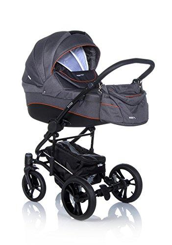 Bebetto Tito Modernes Travelsystem Kinderwagen Babywagen Buggy Kinderwagen System + Wickeltasche + Regenschutz + Insektenschutz (2in1 (Babywanne, Sportsitz), 04. ANTHRAZIT SCHWARZ)